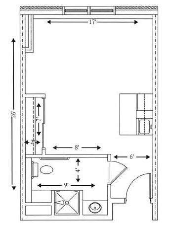 Studio apartment floorplan, 416 SQ FT