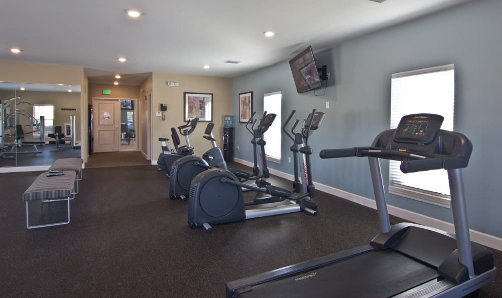 Modern fitness center at The Lakes at 8201 in Merrillville, Indiana