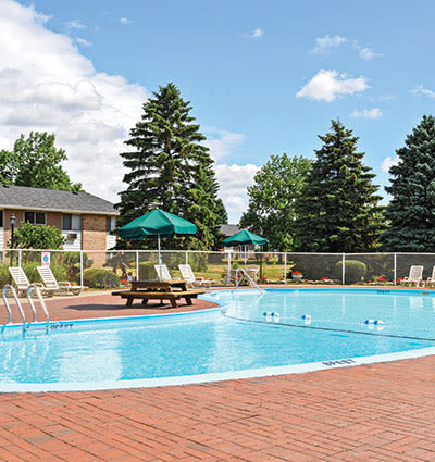 Sparkling swimming pool at Glenbrook Manor Apartments in Rochester, NY