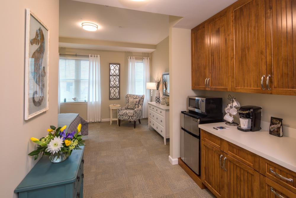 Kitchen area at Mill Hill Residence in West Yarmouth, Massachusetts