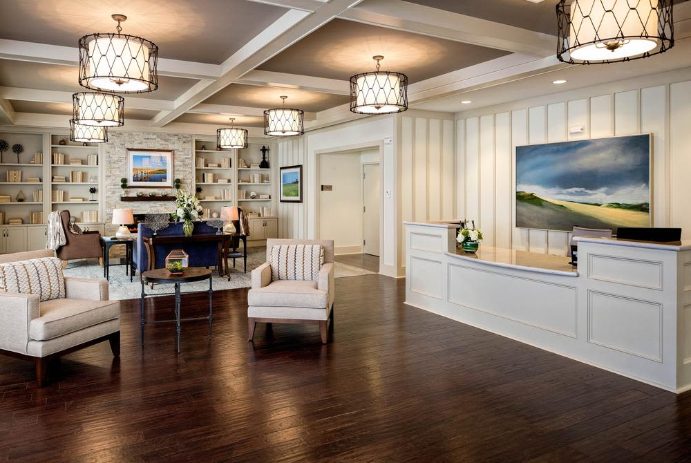 Common room at senior living facility at Mill Hill Residence in West Yarmouth, Massachusetts