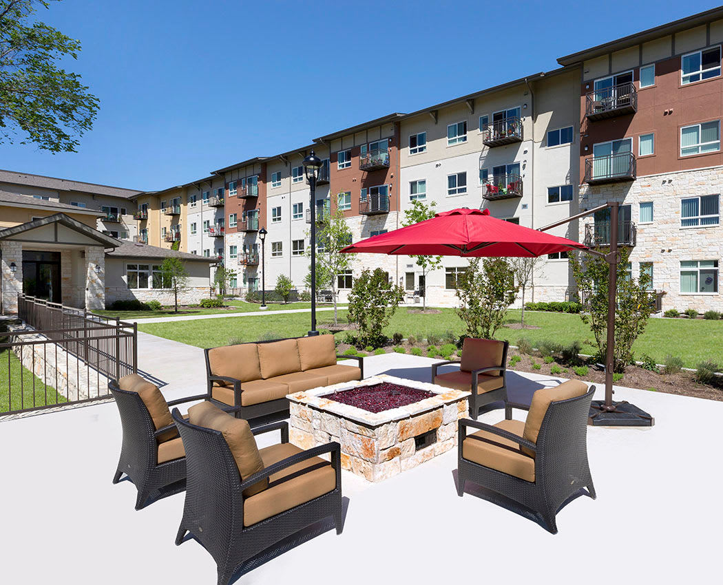 Relax around the fire-pit at Affinity at Covington