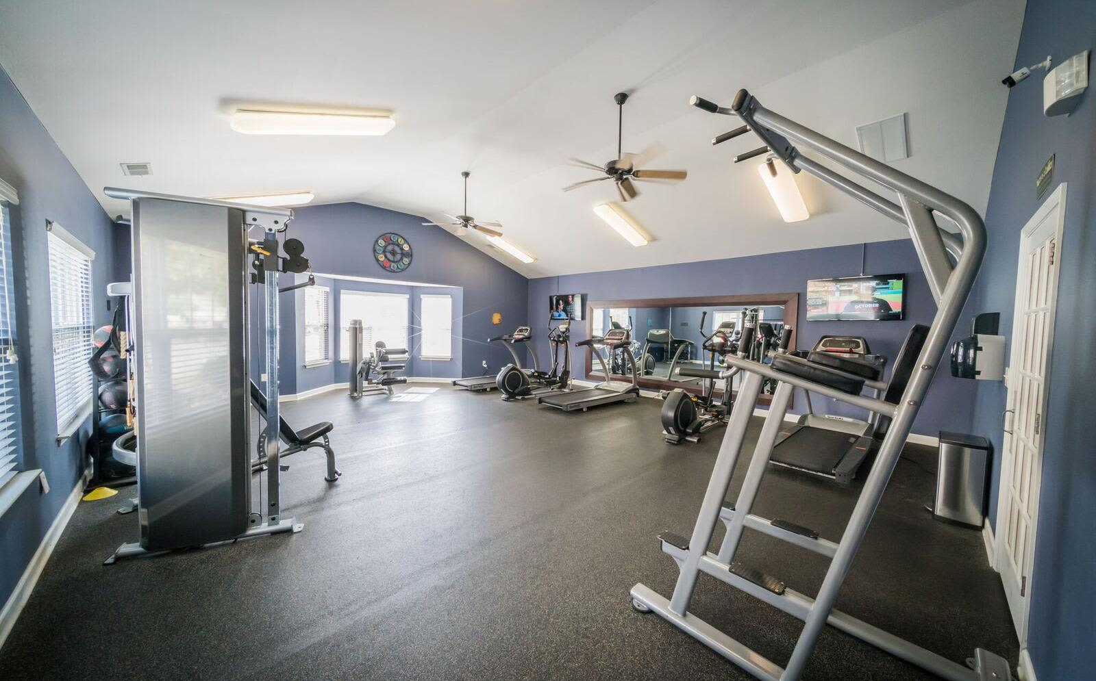 Open fitness center at apartments in Macon, Georgia