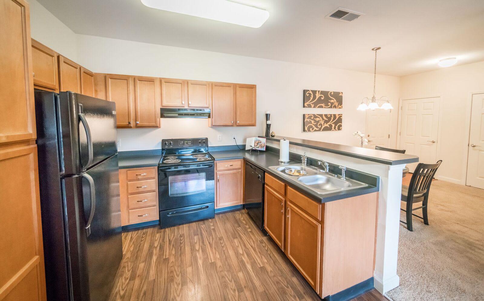 Beautiful kitchen at Pavilion at Plantation Way apartments in Macon, Georgia