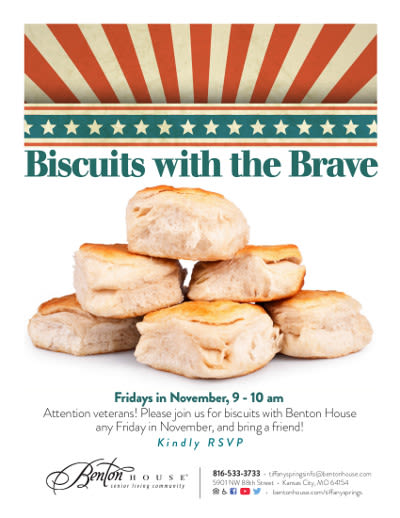 Biscuits with the Brave - activities at Benton House of Tiffany Springs in Kansas City, MO