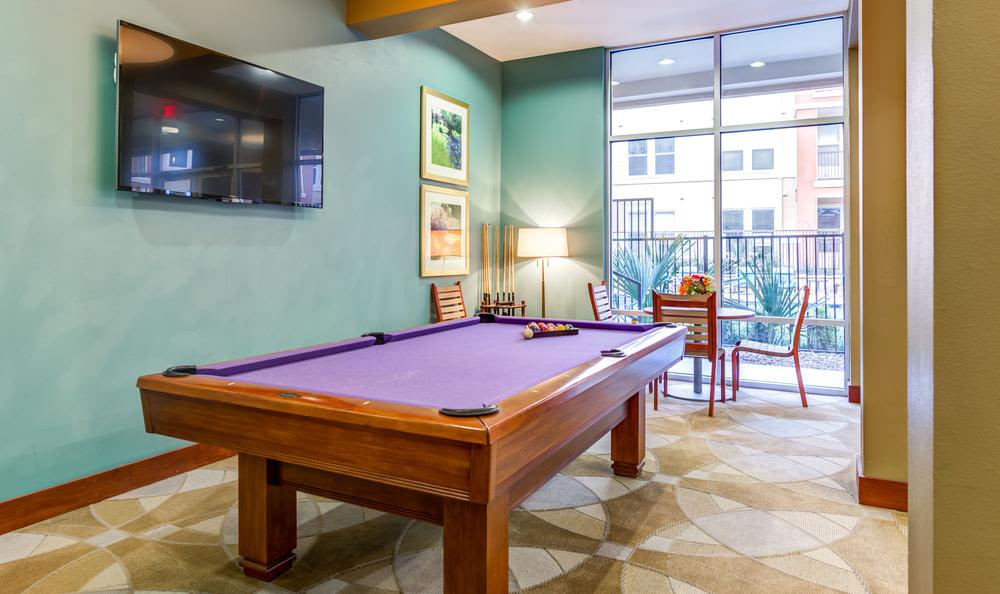 Billiards table in the 4000 Hulen Urban Apartment Homes clubhouse