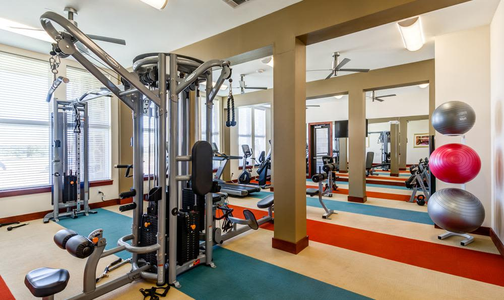 The beautiful fitness center at 4000 Hulen Urban Apartment Homes