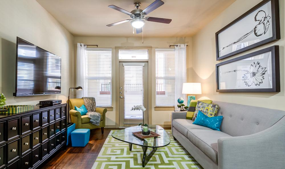 Beautiful living room at apartments in Fort Worth, Texas