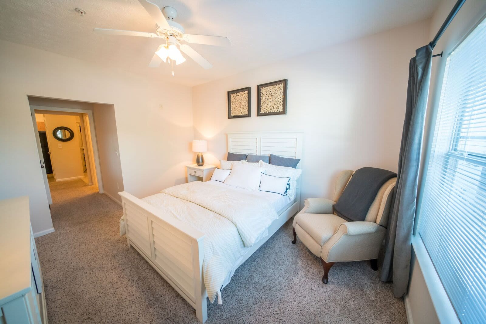 Naturally well-lit bedroom at apartments in McDonough, Georgia