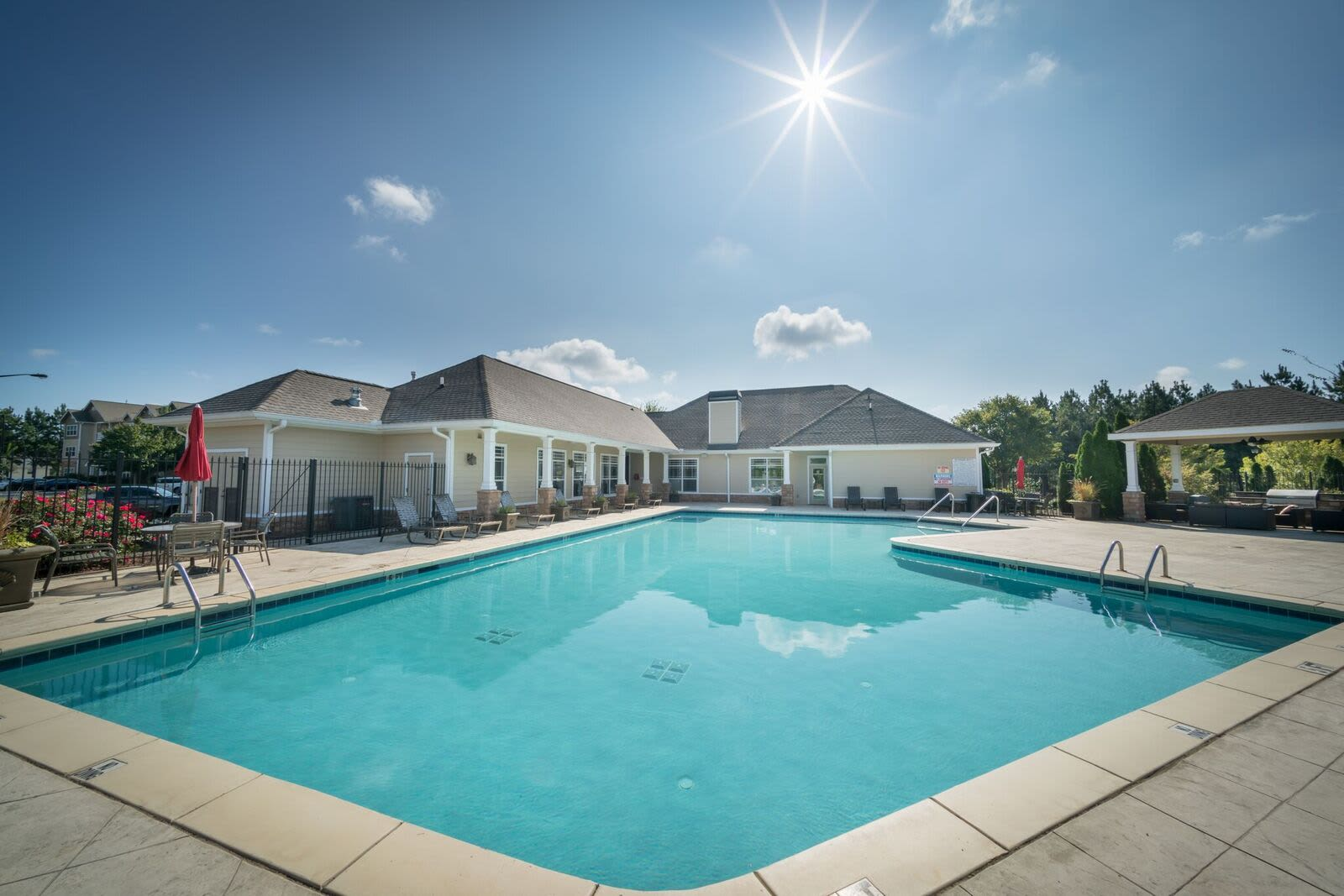 Modern swimming pool at Haddon Place in McDonough, Georgia