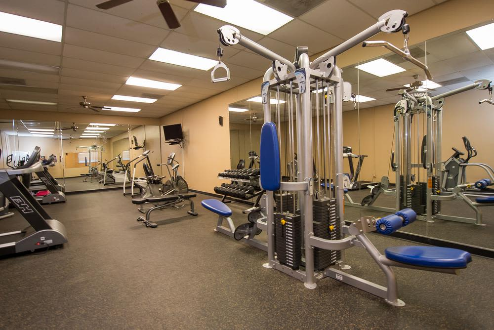 Get your workout in our well equipped fitness center at The Mark Apartments