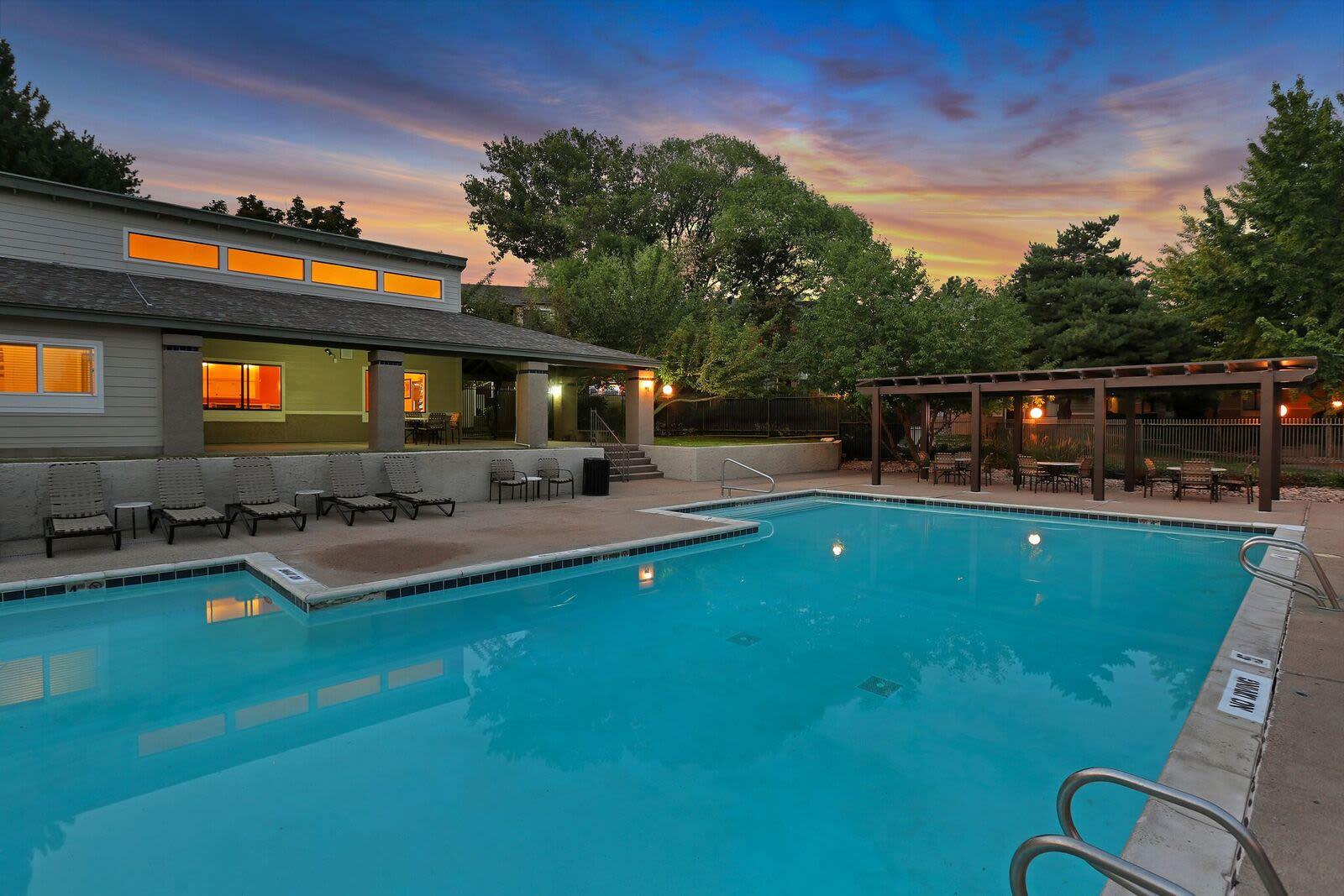 Beautiful swimming pool at apartments in Layton, Utah