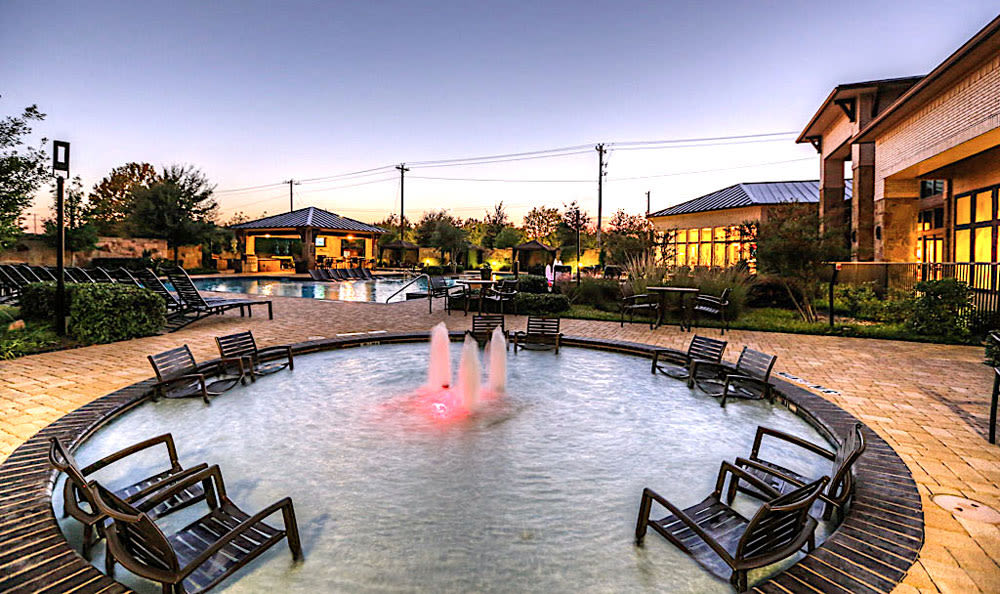 Pool at sunset at Discovery at Rowlett Creek