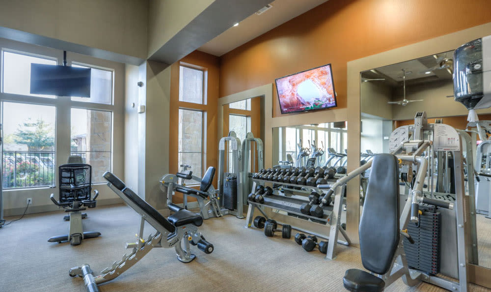 Fitness center at Discovery at Rowlett Creek