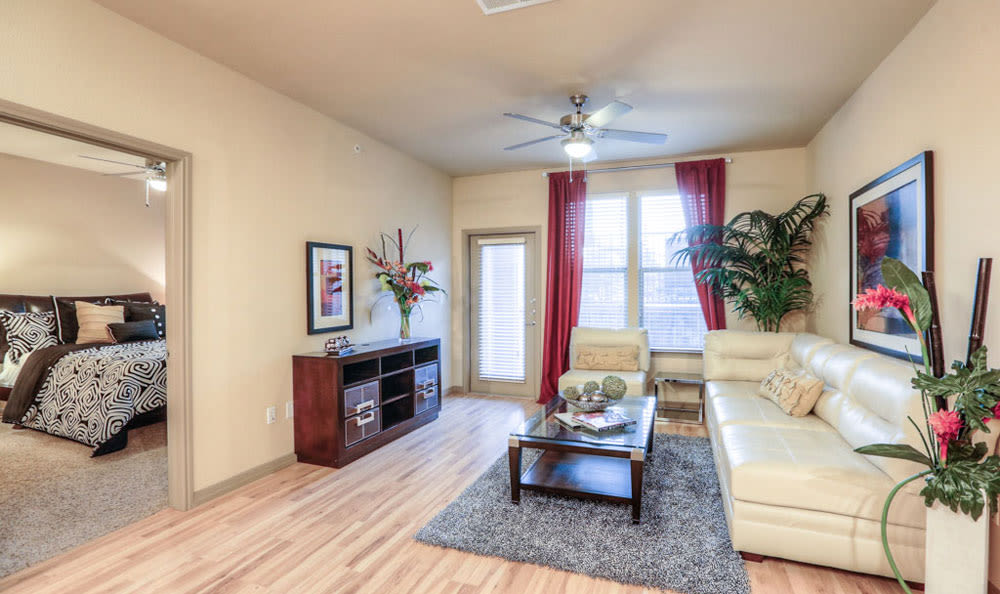 Spacious living room with Hardwood floor at Discovery at Rowlett Creek