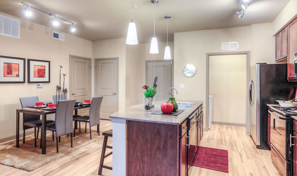 Kitchen and dining room at Discovery at Rowlett Creek