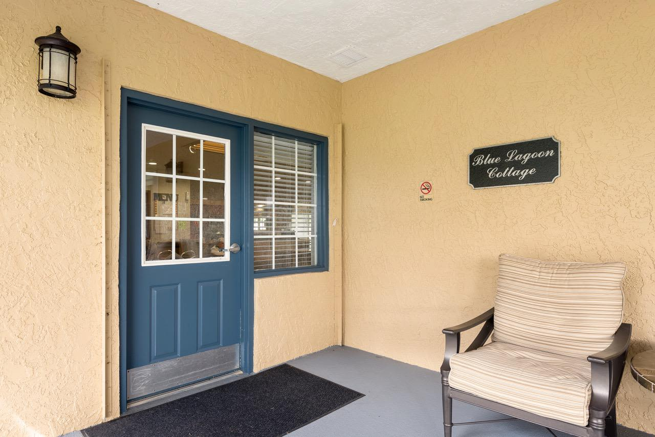 Patio at our senior living facility in Greenacres, Florida