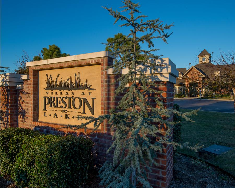 Apartment signage at Preston Lakes in Owasso, OK