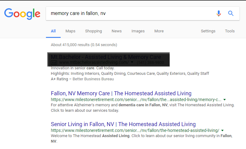 Google Search Engine Results Page for keywords memory care in fallon, nv