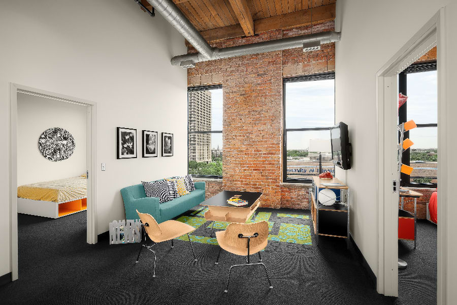 Loft style open floor plan at The Automatic Lofts in Chicago, Illinois