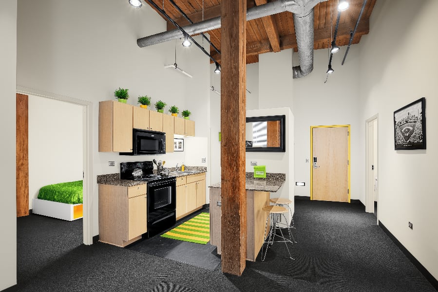 Kitchen, dining and living at The Automatic Lofts in Chicago, Illinois