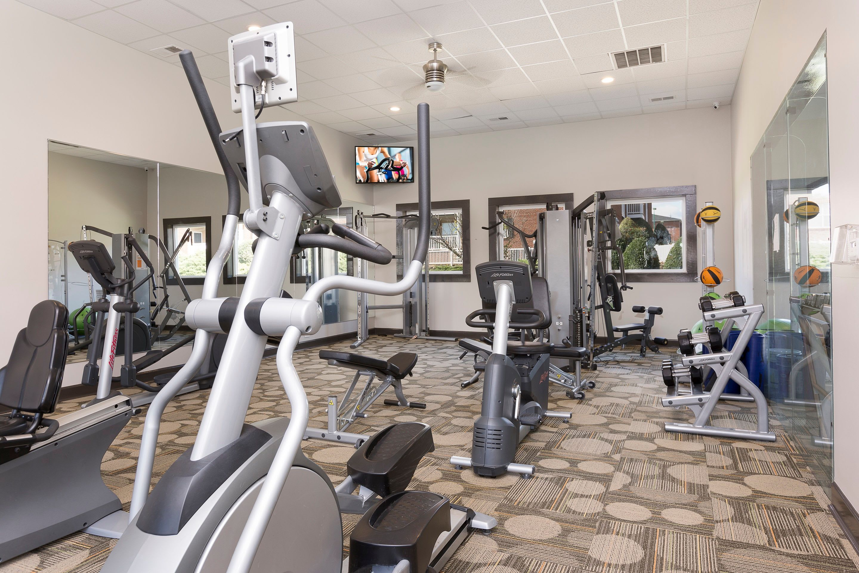 Fitness center at Ascend @ 1801 In Charlotte NC