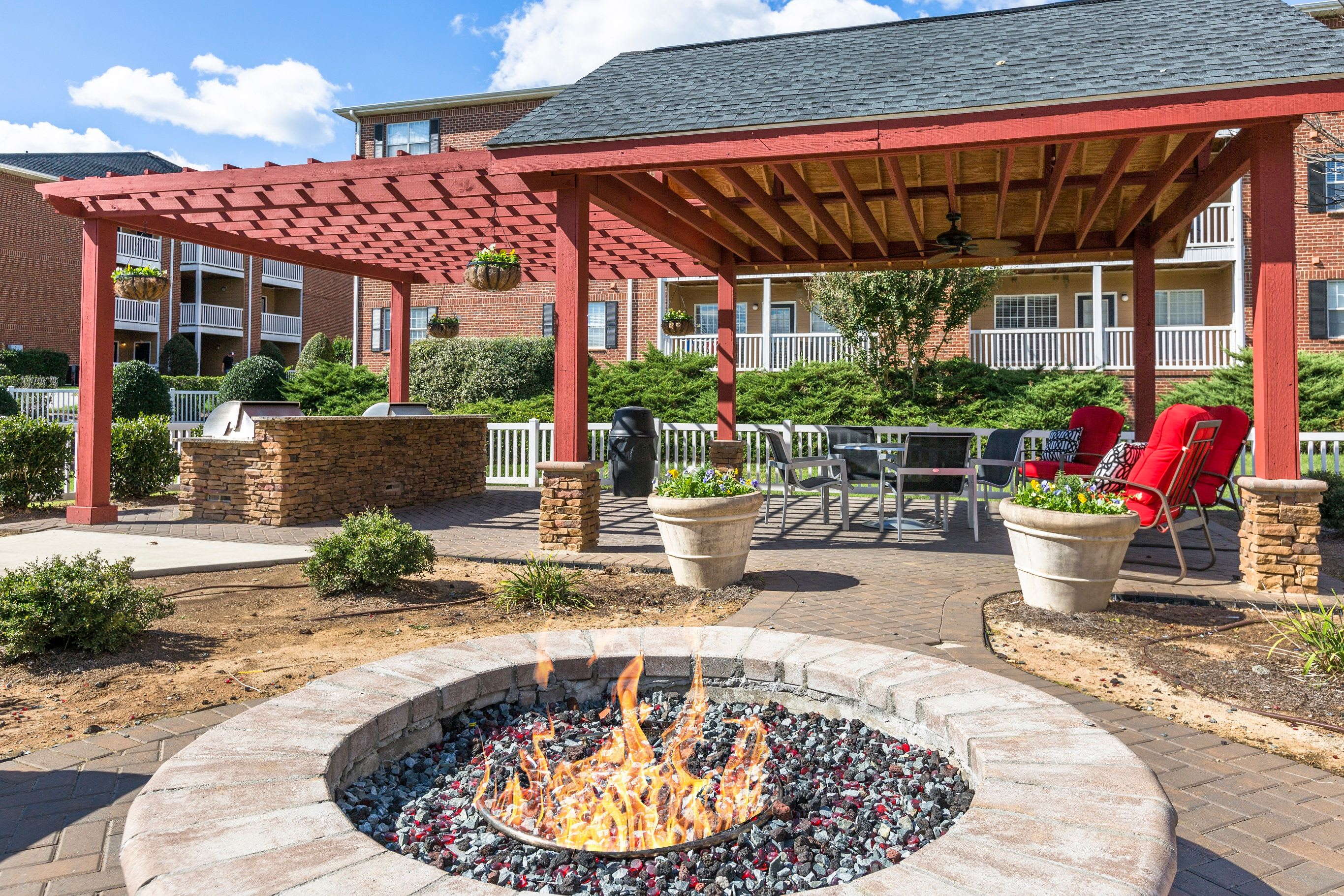 Outdoor firepit at Grand Reserve at Pavilions In Charlotte NC