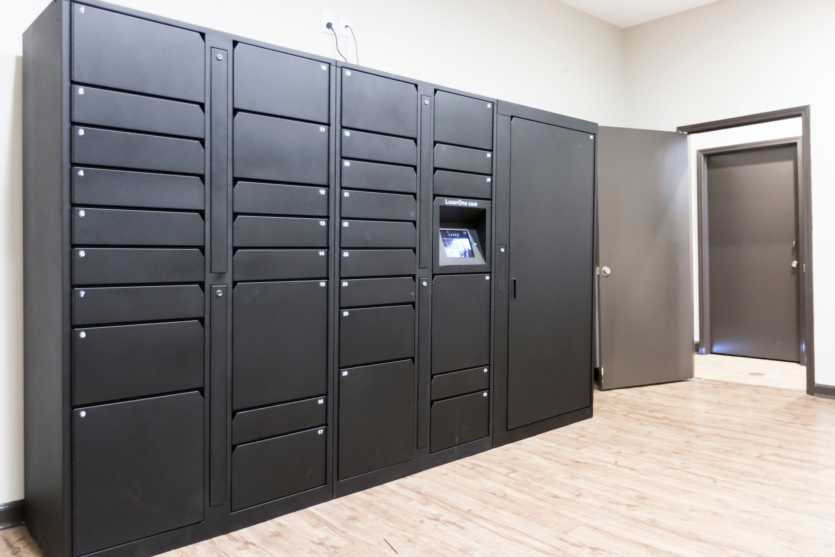 Indoor locker storage at Grand Reserve at Pavilions