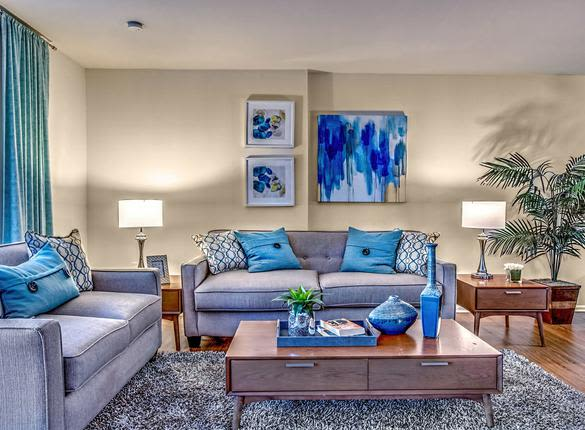 Beautiful living room at apartments in Philadelphia, Pennsylvania