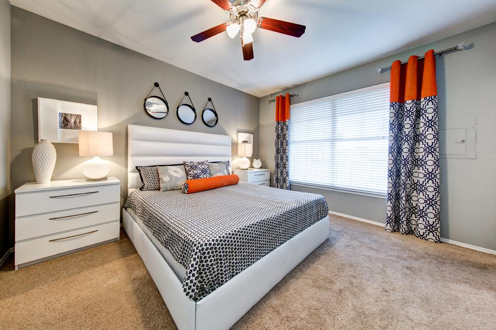 An example bedroom at the apartments for rent in Dallas, TX