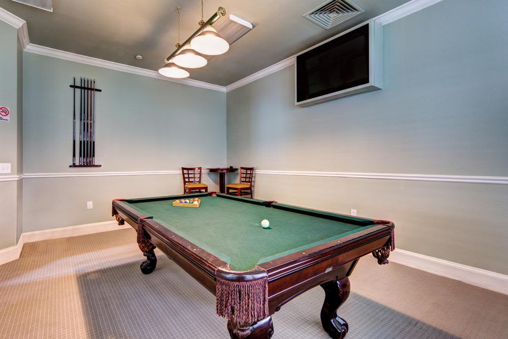 Clubhouse pool table at Marquis at Carmel Commons in Charlotte