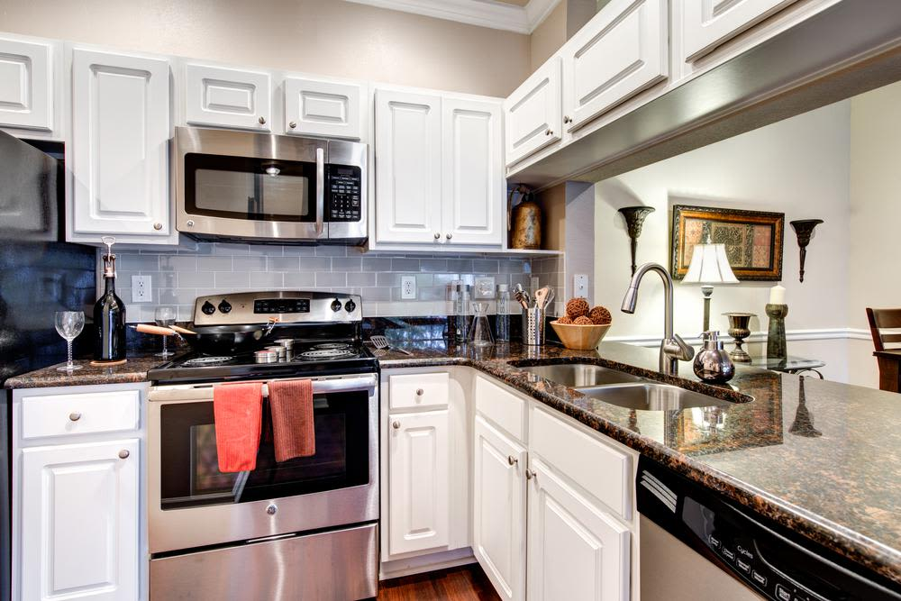 Model kitchen of Marquis at Carmel Commons in Charlotte