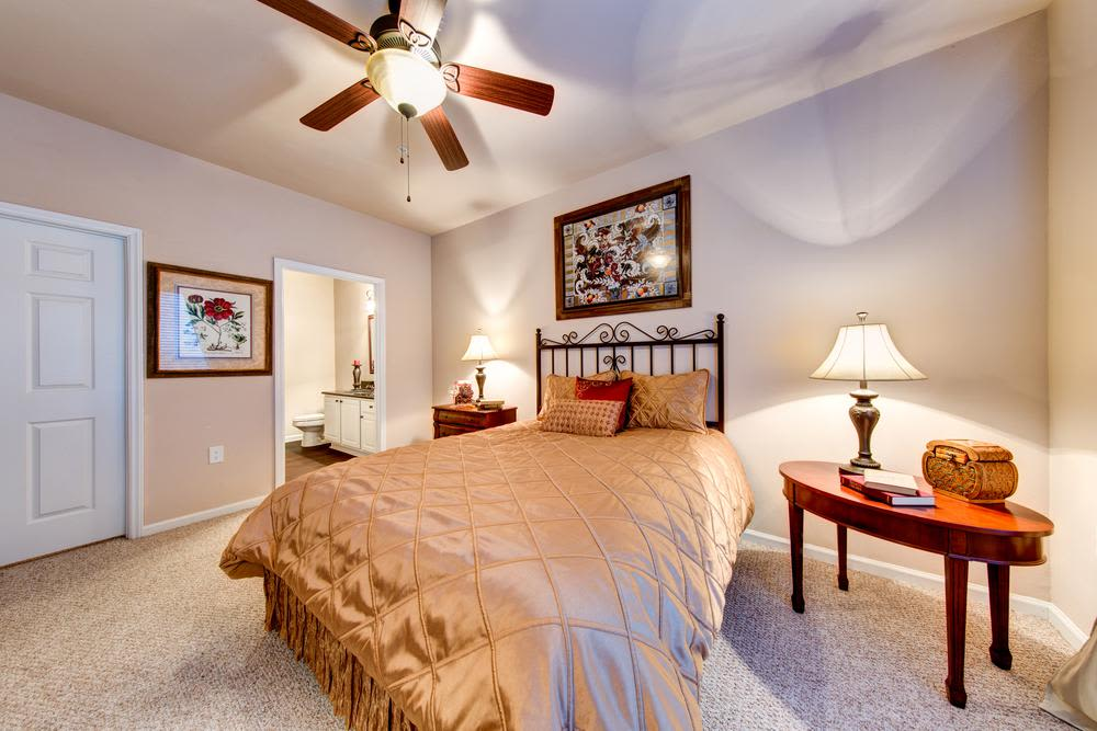 Model bedroom of Marquis at Carmel Commons in Charlotte