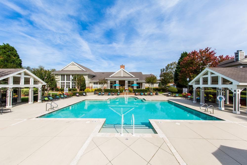 Pool and waterfall at The Preserve at Ballantyne Commons