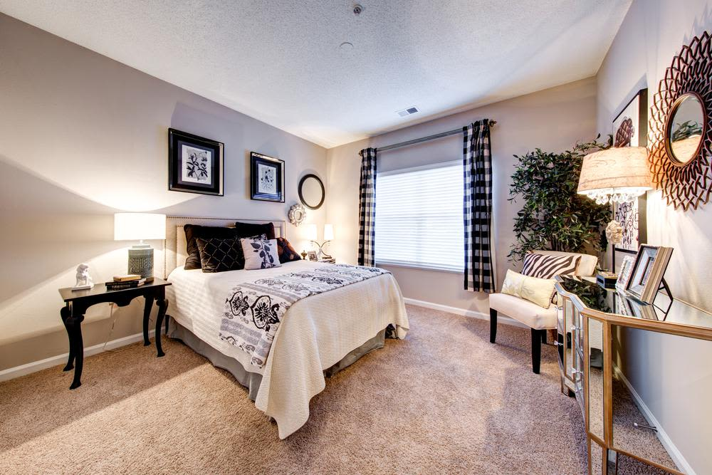 Model bedroom at The Preserve at Ballantyne Commons