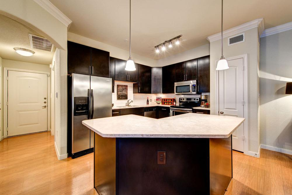 elegant and fully equipped kitchen at Marquis at the Reserve in Katy, TX
