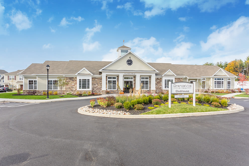 Clubhouse exterior at GrandeVille at Malta in Malta, NY