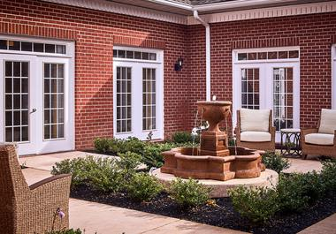 Fountain and gardens at Waltonwood at Ashburn in Ashburn, VA