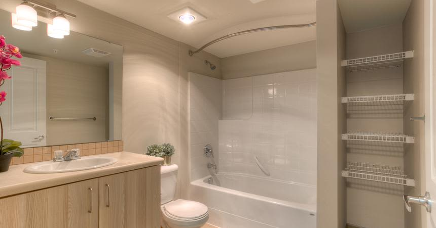 Comfortable bathrooms at Altitude Apartments in Renton, WA