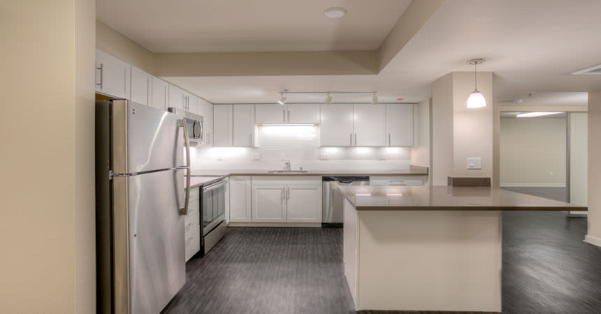 Renovated kitchen at apartments in Renton, Washington