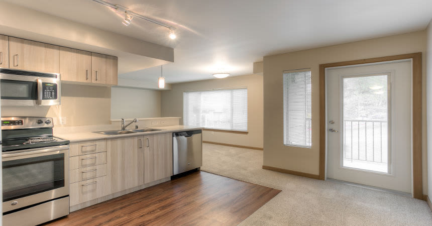 Our apartments in Renton, Washington showcase a luxury kitchen