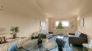 Luxury dining room at apartments in Renton, Washington