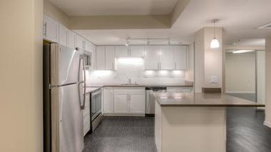 Renovated kitchen at apartments in Renton, Washington