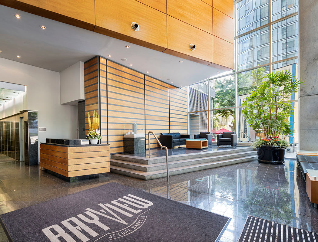 Luxury entryway at Bayview at Coal Harbour in Vancouver, British Columbia