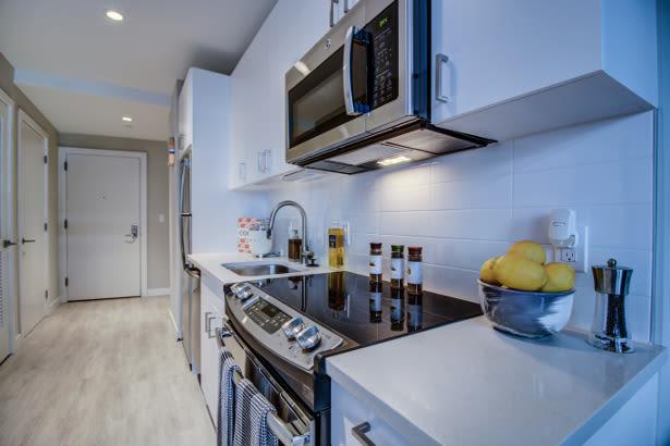 Renovated kitchen at VIA in Boston, Massachusetts