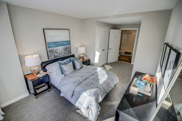 Spacious bedroom at VIA Seaport Residences in Boston, Massachusetts