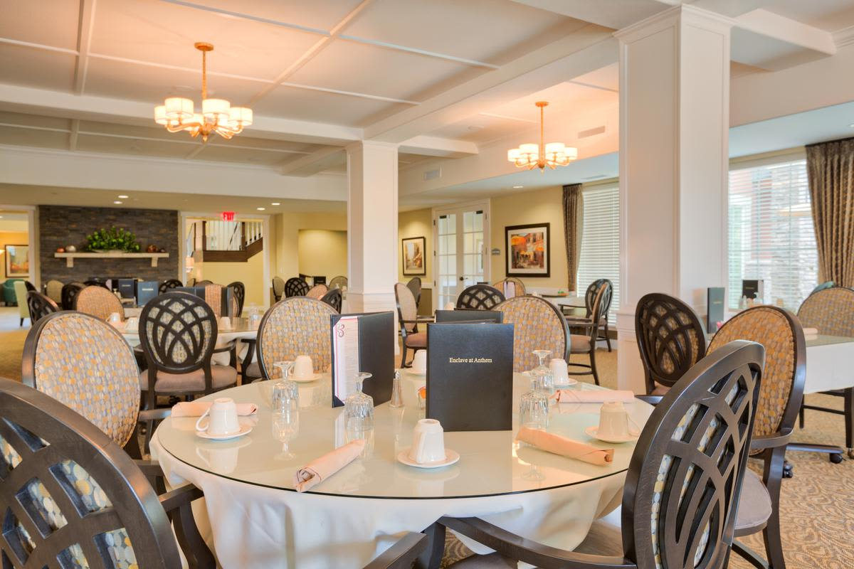Dining area at The Enclave at Anthem Senior Living in Anthem, Arizona