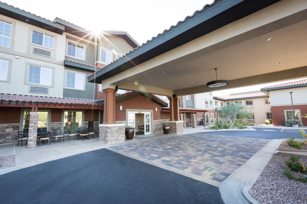 Front entrance at senior living facility in Anthem, Arizona