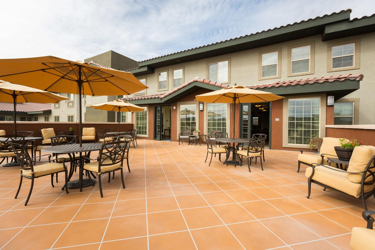 Patio at our senior living facility in Anthem, Arizona