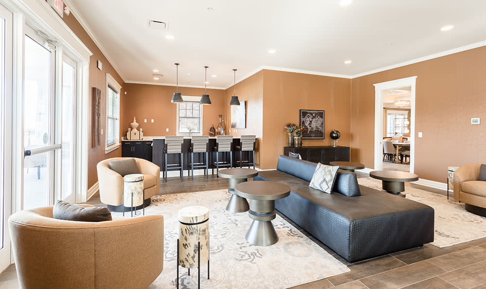 Luxury living room at Orchard View Senior Apartments in Rochester, New York